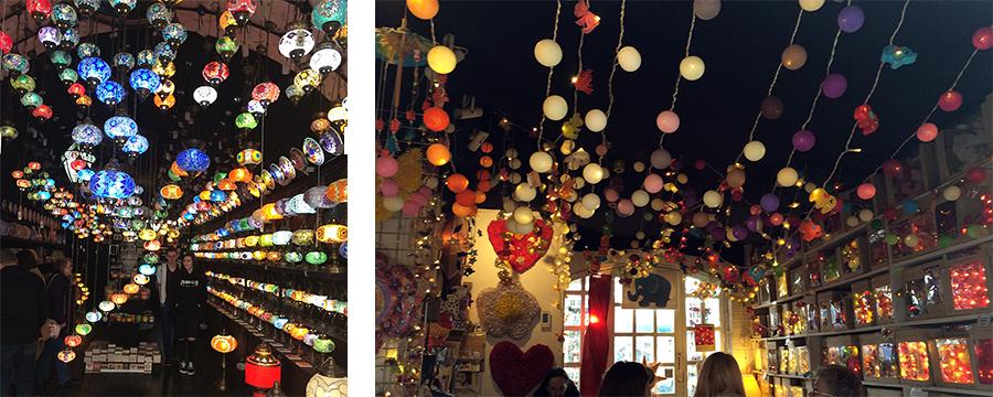 Hier gibt es z.B. coole Läden nur mit quietschbunten Lampen, und sogar einen Laden extra für Lichterketten in allen Formen und Farben.