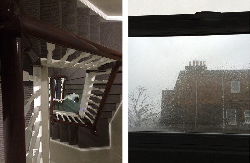 Wir wohnen ganz weit oben! Von dort genießen wir einen typisch Londoner Ausblick an einem typischen, regnerischen Morgen auf ein anderes, typisch britisches Backsteinhaus - bei uns drinnen ist es dafür umso gemütlicher.