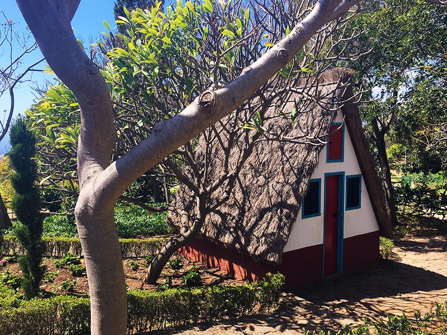 Strohgedecktes, spitzes Dach und weiß-blau-rote bemalte Wände: Ein typisches 'Santana'-Haus auf Madeira.