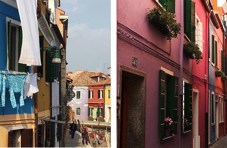 Und noch viel mehr Häuser, in azurblau, currygelb, eisblau, altrosa, violett, pink, blassrot...