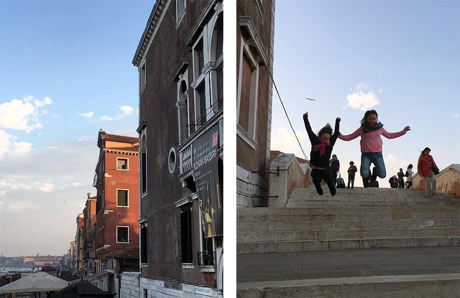 Eine Runde Treppenspringen auf den Stufen von Cannaregio in Venedig, nach so viel Stillsitzen auf dem Vaporetto.