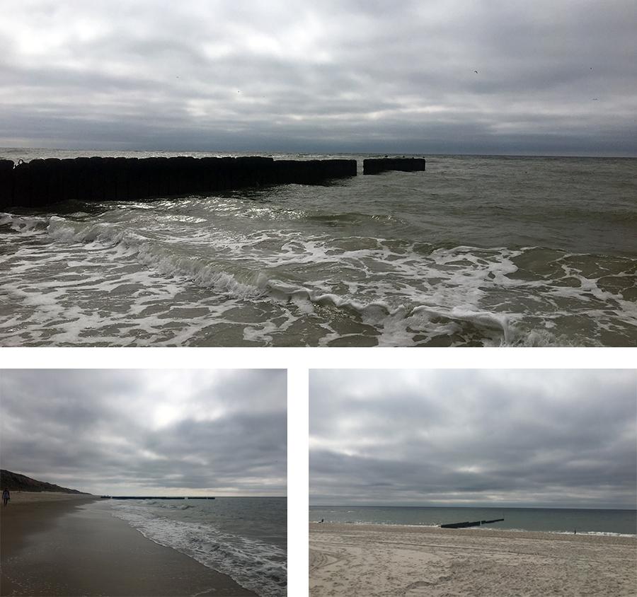 Die für Sylt so typischen 'Buhnen', Holzpfähle, die in langen Reihen schon ab Mitte des 19. Jahrhunderts senkrecht zur Küste ins Meer geschlagen werden, um die Wellen zu brechen und die Küste vor deren Wucht zu schützen.