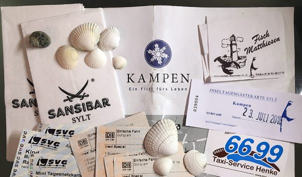 Tickets, Karten, Belege und Muscheln: Das Sammelsurium unseres Urlaubs auf Sylt