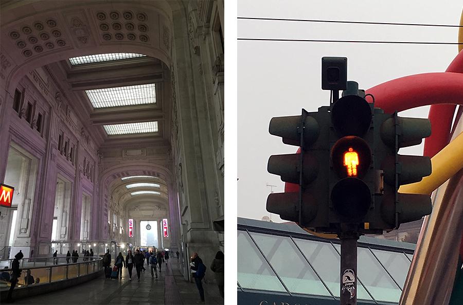 Links: der Bahnhof Milano Centrale, oha! Rechts: In Mailand gibt es orange Ampelmännchen, was die Mädels begeistert. Ich muss ein Beweis-Foto schießen und werde aufgefordert, darüber im Blog zu berichten. Nun gut!