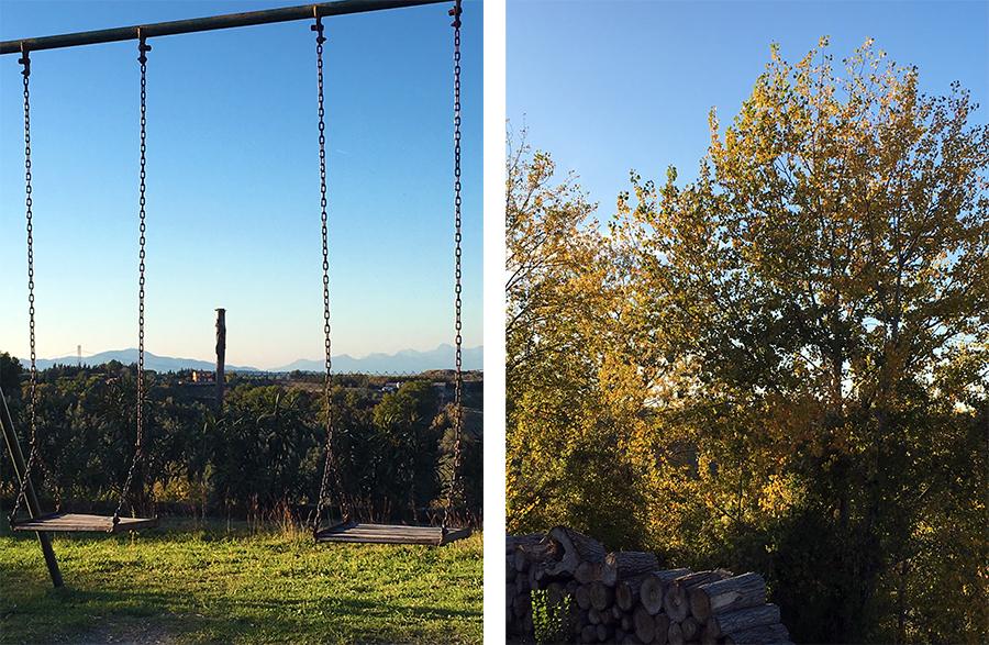 Schaukeln mit Aussicht auf die Hügel der Toskana. Kann man mal machen! Im wunderbaren Licht der italienischen Herbstsonne.