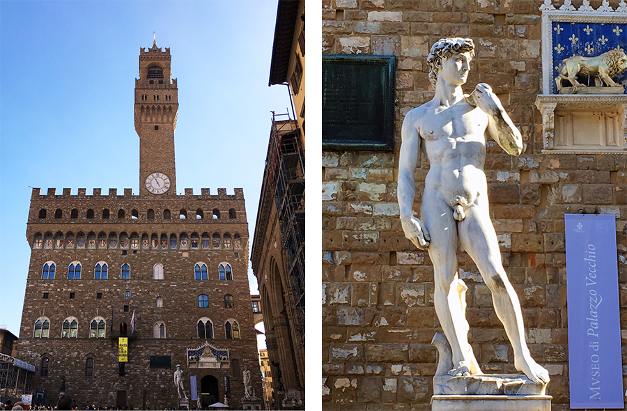 Links: Der 'Palazzo Vecchio', lange Zeit Wohnsitz der Medici. Rechts: Der 'David' von Michelangelo - allerdings nur eine Replik.