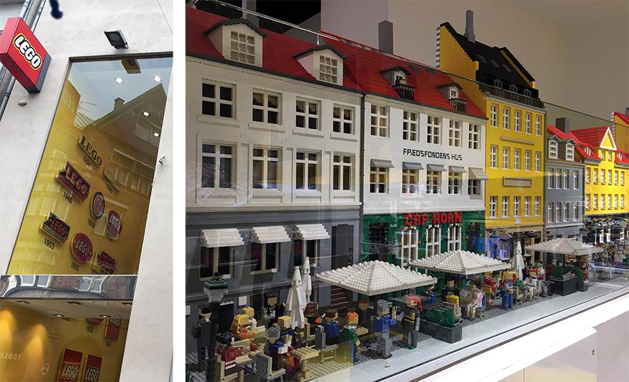 Noch einmal die bunten Häuser, hier in Miniatur im LEGO Shop.