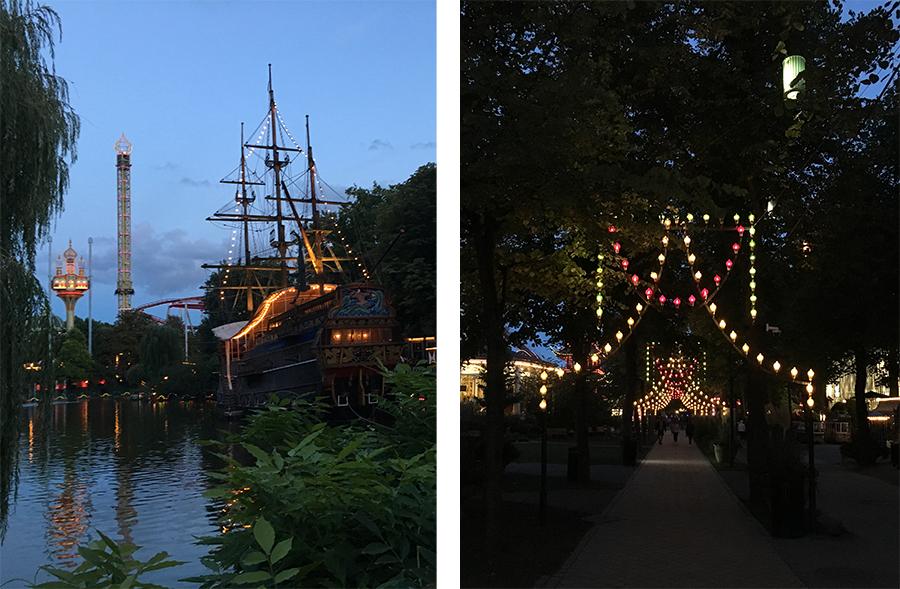 Natürlich gibt es auch ein waschechtes Piratenschiff auf dem See - mit Restaurant! Und bei einsetzender Dunkelheit erscheinen die Wege wahrhaft magisch.