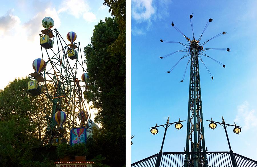 Pure Nostalgie: Gerade einmal sechs Wagen, oder besser Gondeln mit Ballons, umfasst das Riesenrad. Und dann wird es schon nervenaufreibender: Daneben der 'Star Flyer' - ein Kettenkarussell in 80m Höhe!