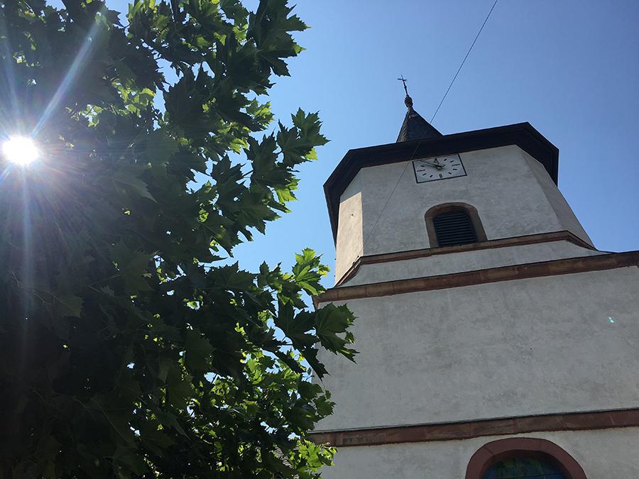 Kirchturm und Blätterdach unter knallblauem Sommerhimmel - Idylle pur!