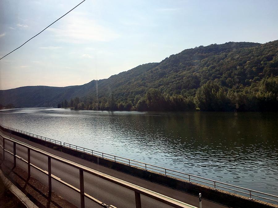 Blick aus dem Zug-Abteil auf die Mosel.