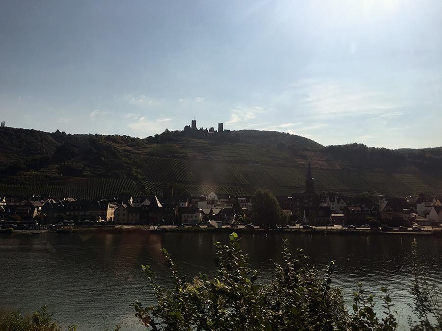 Burg, Berge mit Weinreben, Fachwerk-Häuschen und der Fluss: Fertig ist ein Moseldorf.