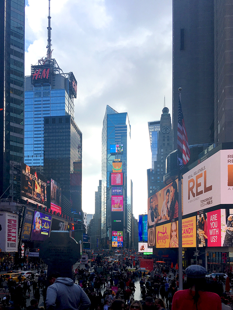 Der Times Square am Broadway in New York City.