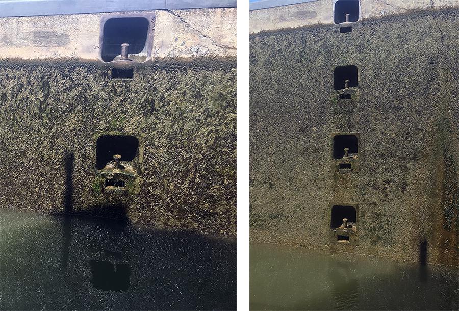 Die Schleuse in Zeltingen: Bei hohem Wasserstand fahren wir ein, dann wird es abgelassen und es geht abwärts!