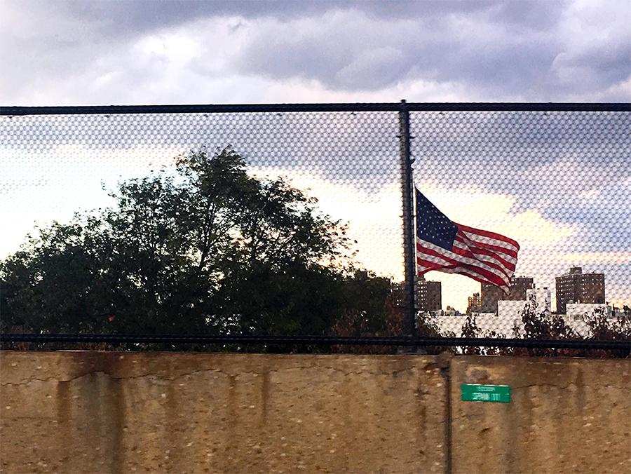 Der 'Union Jack', die amerikanische Flagge, passend zur Geschichte hier schwer zugänglich.