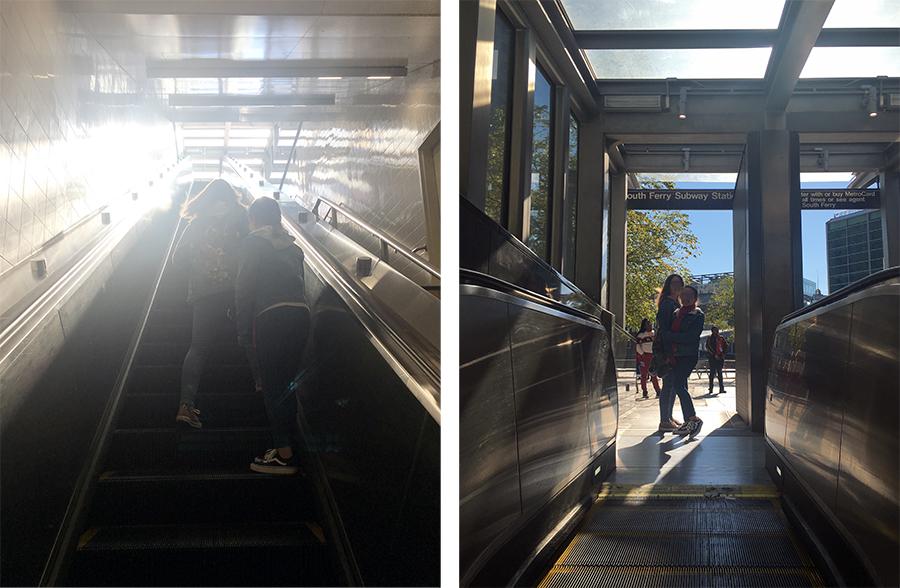 Die Whitehall South Ferry Station ist eine der tiefsten Subway-Stationen von New York City. Es dauert eine ganze Weile, bis wir wieder oben stehen.