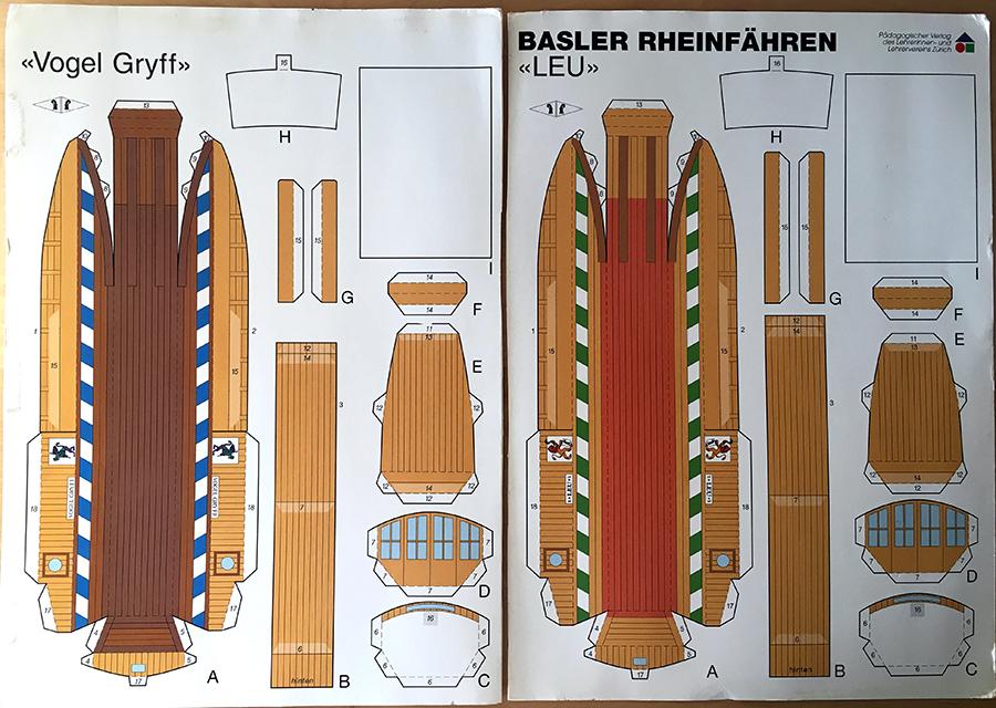 """Bastelbogen für die Basler Fähren """"Leu"""" und """"Vogel Gryff"""" - für die eigenen Fähren für zuhause."""