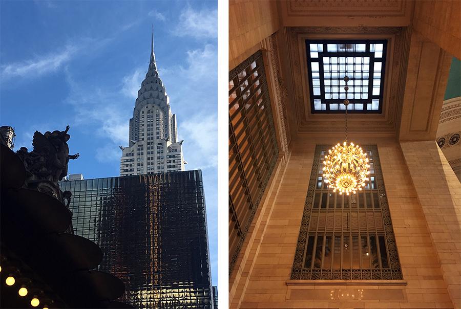Links die Außenansicht von der Straße, rechts ein Vorraum (!) innen vor der eigentlichen Halle. Es lohnt sich, nach oben zu gucken, 10 dieser Kronleuchter hängen hier!
