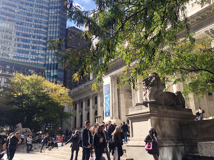 Die beiden steinernen Löwen auf den Stufen zur New York Public Library.