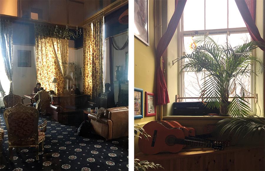 """Noch mehr Aufenthaltsräume: Links ein ausgewiesener """"Ruhe""""-Raum, rechts das Musikzimmer."""