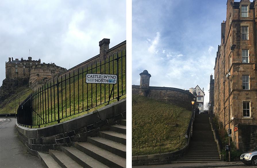 Links: Gegenüber vom Eingang des Castle Rock Hostels da direkt schon das Edinburgh Castle. Volltreffer! Rechts: Nur diese Treppe gegenüber des Hostels hinauf, schon steht man auf dem Burgvorplatz.