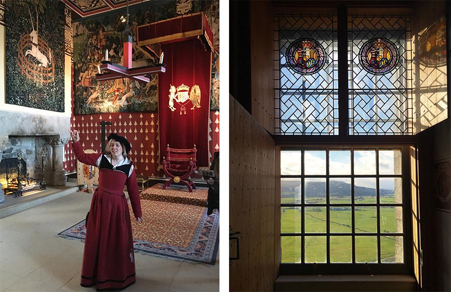Kostümierte Guides und Einhörner überall an den Wänden - und ein traumhafter Ausblick aus bunt verzierten Fenstern.