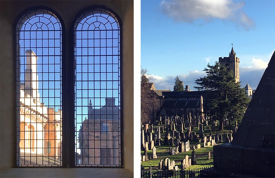Eine eigene Kapelle hat Stirling Castle natürlich auch, und draußen, direkt unterhalb der Burg, darf der Friedhof nicht fehlen.