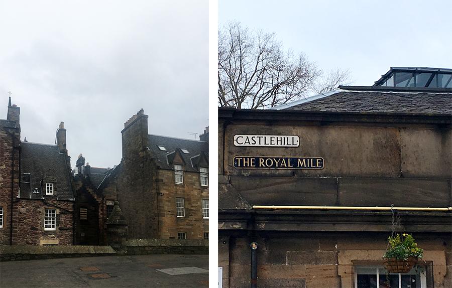 Links: Typische schottische Häuser am Ende des Burgvorplatzes. Rechts: Auf der berühmten 'Royal Mile'!