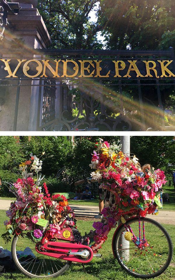 Ein bezauberndes Fahrrad im schönen Vondelpark in Amsterdam