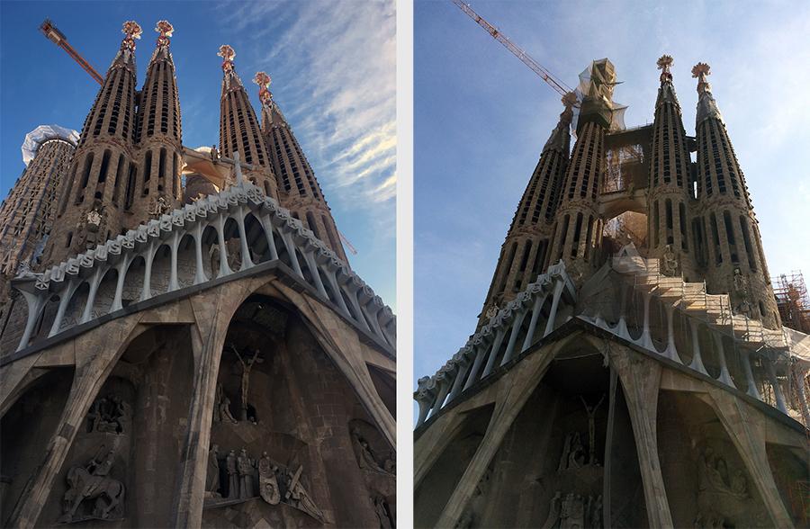 Links die Sagrada Família 2019, rechts noch vier Jahre zuvor in 2015.