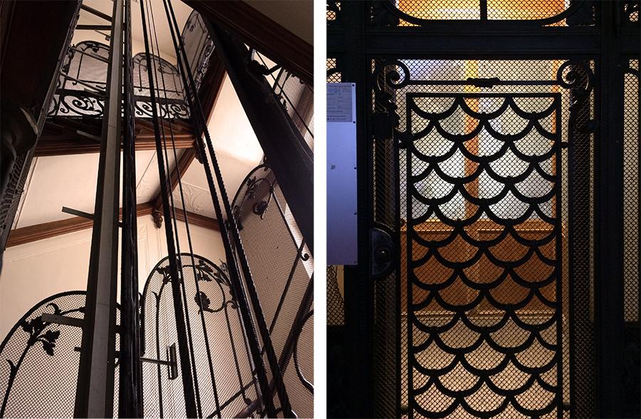 Formvollendeter Jugendstil-Lift im Treppenhaus.