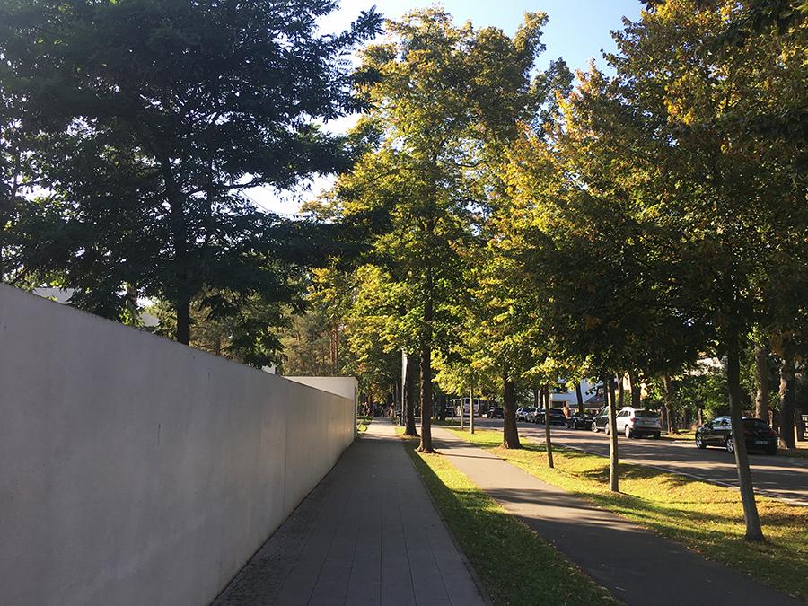 Hinter dieser Mauer beginnen die 'Meisterhäuser' der Dozenten des Bauhaus.