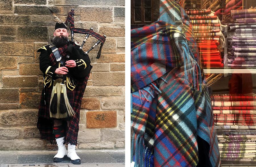 Links: Ein Dudelsackspieler in voller Montur und bei vollem Einsatz - schottischer geht es kaum! Rechts: Schottische Muster findet man hier natürlich überall.