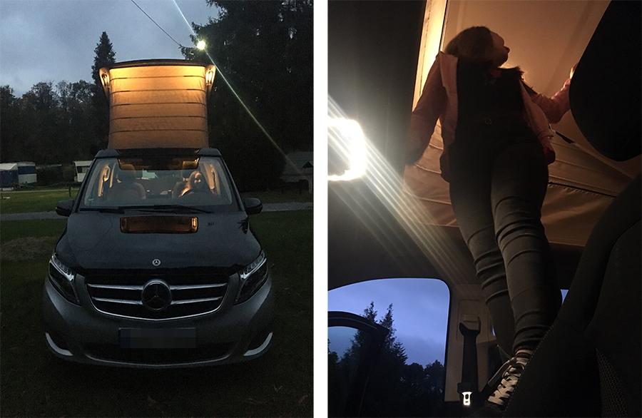 Ziemlich cool, unser auffaltbares Dach, schön mit Beleuchtung am Abend!