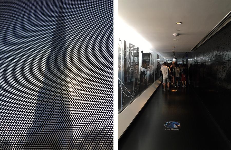 Links: Ein erster Blick auf das Burj Khalifa aus dem Busfenster. Rechts: Anstehen, anstehen, anstehen auf dem Weg nach oben.
