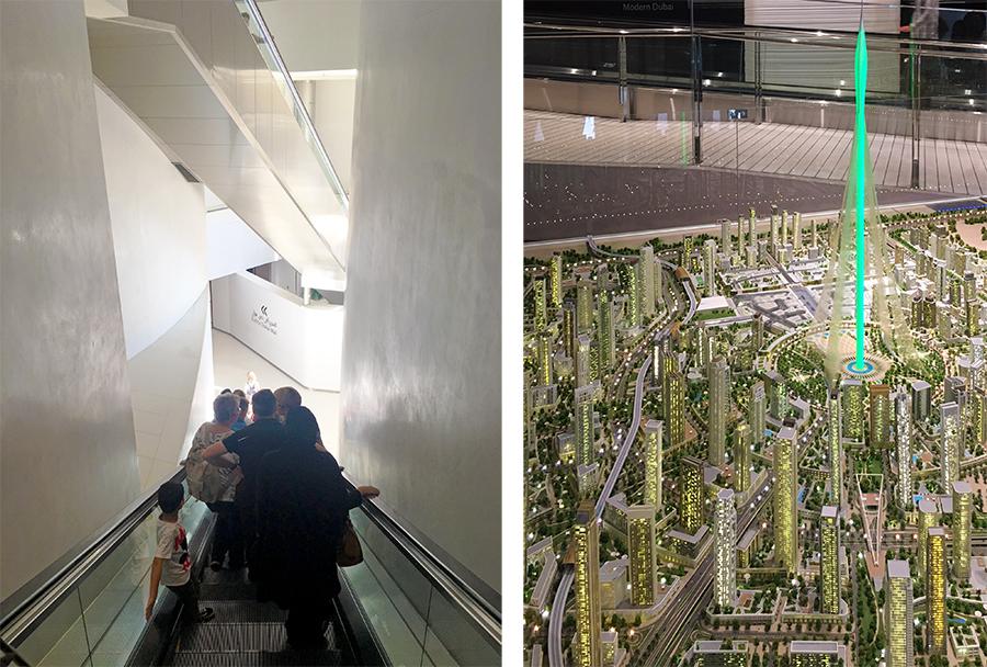 """Es geht abwärts! Und unten kann man schon das nächste Mega-Projekt von Dubai im Modell bewundern, mit einem dann noch höheren Turm, dem """"Dubai Creek Tower""""."""