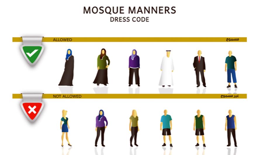 Was ist erlaubt, in der Moschee zu tragen und was nicht? Hier mit Beispielen.