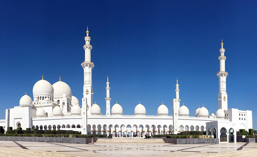 Panoramabild der Grand Mosque in Abu Dhabi