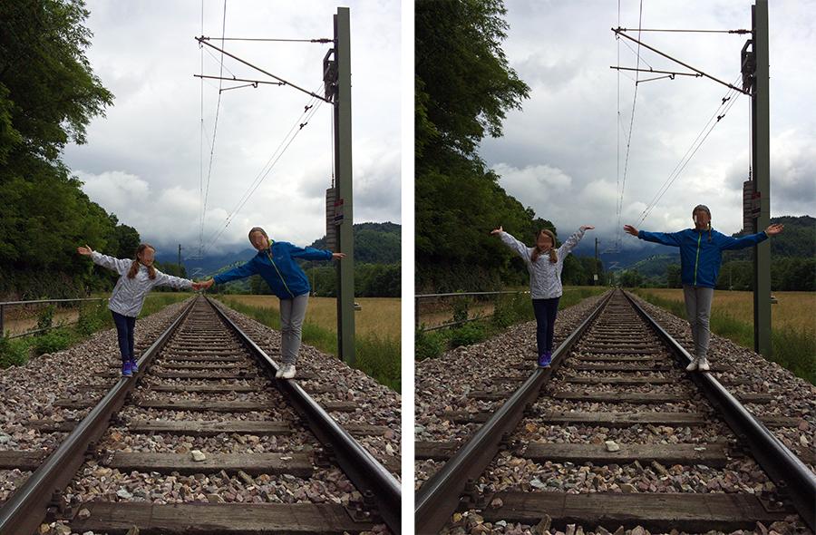 Kurz drauf, balancieren, und dann nichts wie runter wieder von den Schienen.