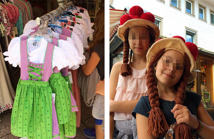 Die Dirndl wollten die Mädchen am liebsten alle mitnehmen. Nachgemachten Billig-Touri-Bollenhüte gibt es natürlich auch zu kaufen.