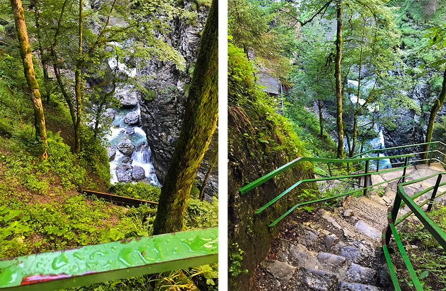 Die Stufen nach oben zur hohen Brücke bringen uns jetzt aber doch ganz schön zum Keuchen!