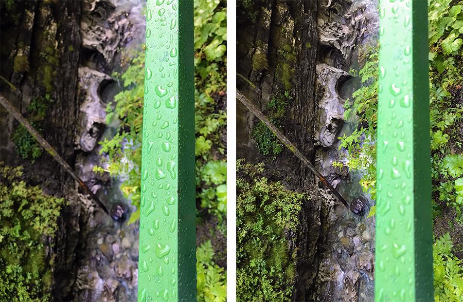 Wechsle deinen Fokus: Einmal das ewiggrüne, immernasse Geländer, einmal die tiefe, tiefe Klamm darunter!