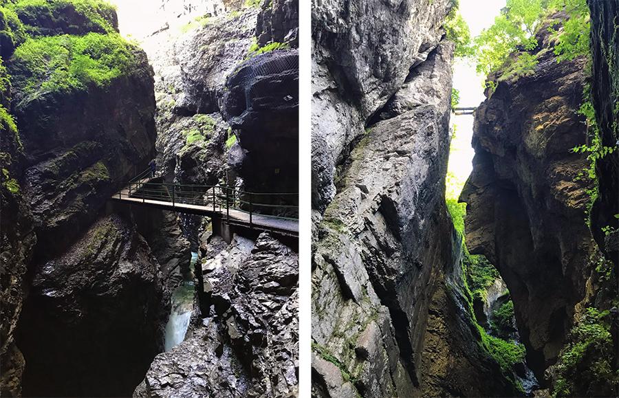 Jetzt befinden wir uns wirklich in einem Spalt zwischen den Felswänden! Und seht ihr auf dem zweiten Bild da gaaaanz hoch oben die winzige Brücke? Gut merken, die kommt später noch einmal vor!