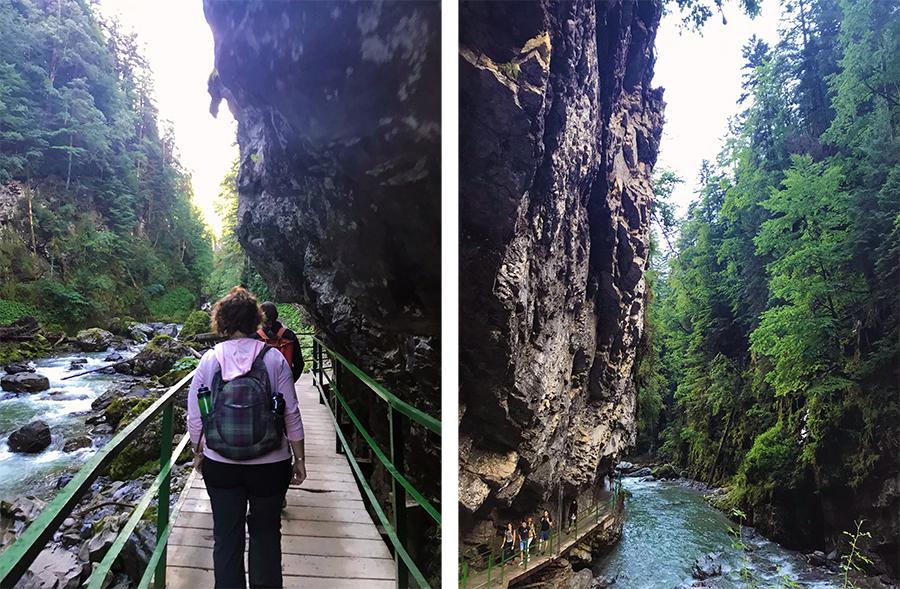 Obacht: An manchen Stellen kommt der Fels ganz schön nahe! Oder ist es andersherum und wir Wanderer quetschen uns samt Weg eher an den Fels?