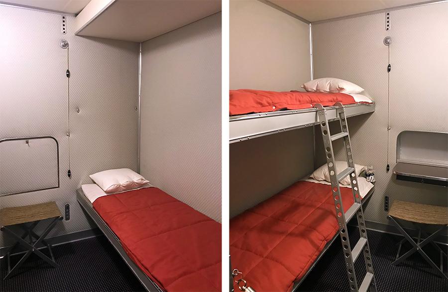 Eher schlichte Kabinen mit einem oder zwei Betten, dafür soll das Essen im Speisesaal sensationell gewesen sein und keine Wünsche offengelassen haben.