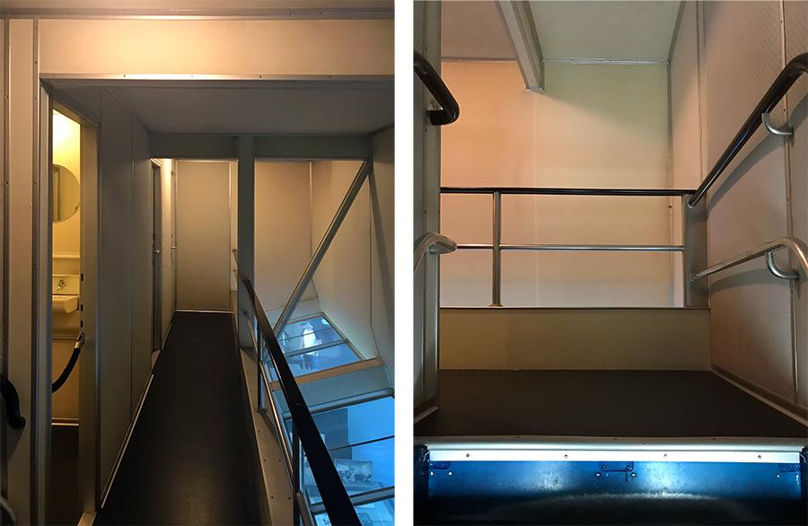 Gänge und Treppen zu den Bädern und zu den Galerien mit Panoramafenstern, damit man die Landschaft unter sich bewundern konnte.