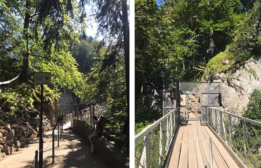 Links Blick auf den Eingang zur Marienbrücke, rechts der Blick zurück zum Eingangstor.