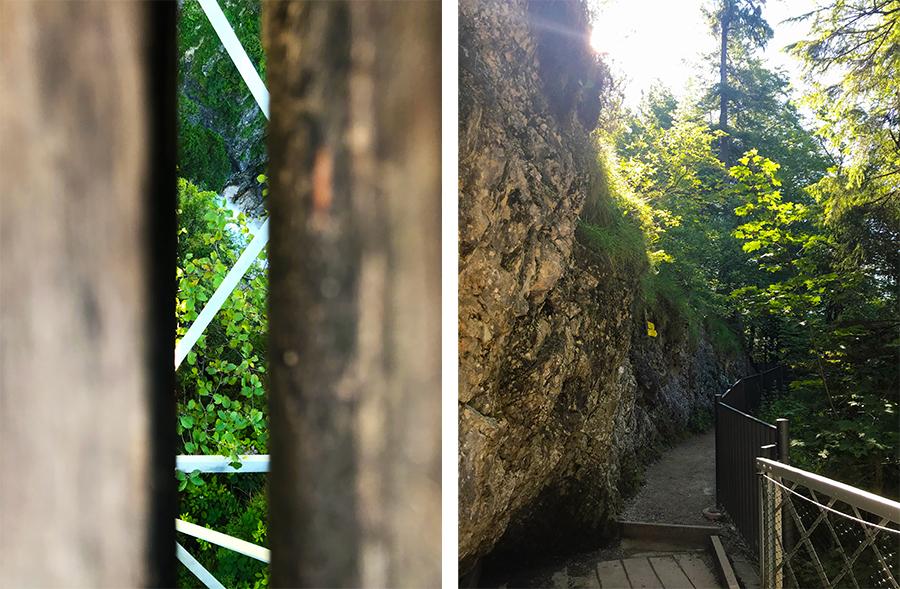 Tief unter der Marienbrücke braust das Wasser durch die Pöllatschlucht, und am hinteren Ausgang kann man auch noch weiter wandern.