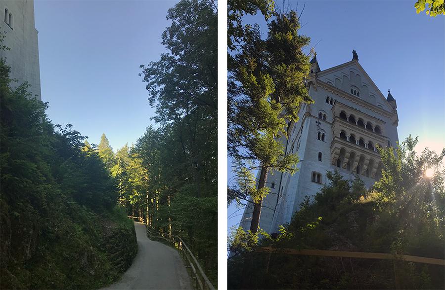 Der Weg zur Marienbrücke führt rechts am Schloss entlang, so seht ihr es auch einmal von hinten.