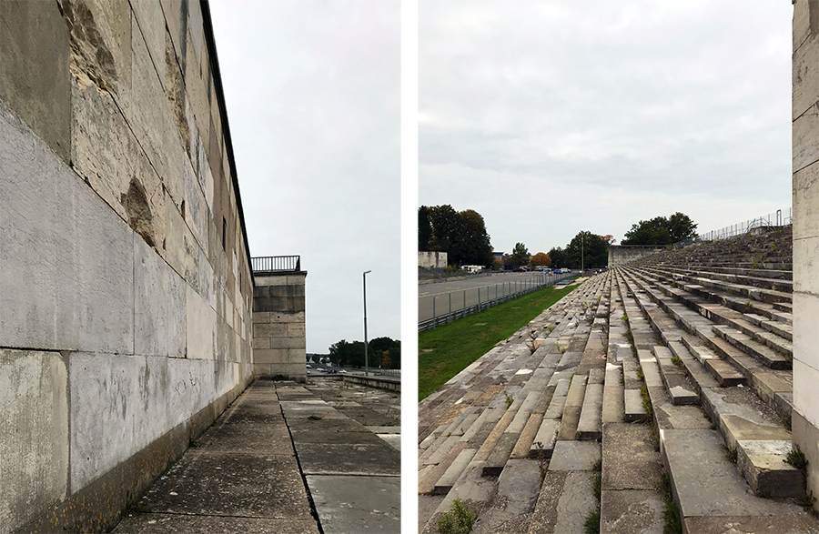 Hier links seht ihr das Rednerpult, von dem aus Hitler zu den Menschenmassen auf den Tribünen und auf dem Gelände sprach.